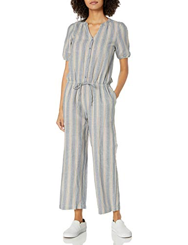 Goodthreads Washed Linen Blend Button Front Jumpsuits-Apparel, Thin Rainbow Stripe, US 10 (EU M - L)