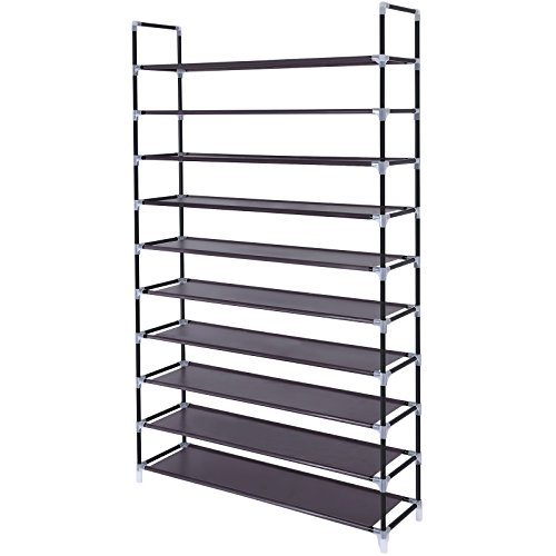 SONGMICS 10 Tiers Shoe Rack 50 Pairs Non-woven Fabric Shoe Tower Storage Organizer Cabinet 39.4 x 11.1 x 68.9 Inches Dark Brown ULSH11Z