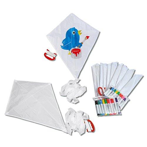 Wiemann Lehrmittel Drachen für Kinder, 10er Set, weiß, inkl. 20 Textilmalstifte