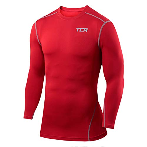 TCA Boys' Youth & Men's Pro Performance Compression Shirt Long Sleeve Base Layer Thermal Top - Team Red, Youth - Small (6-8 Years)