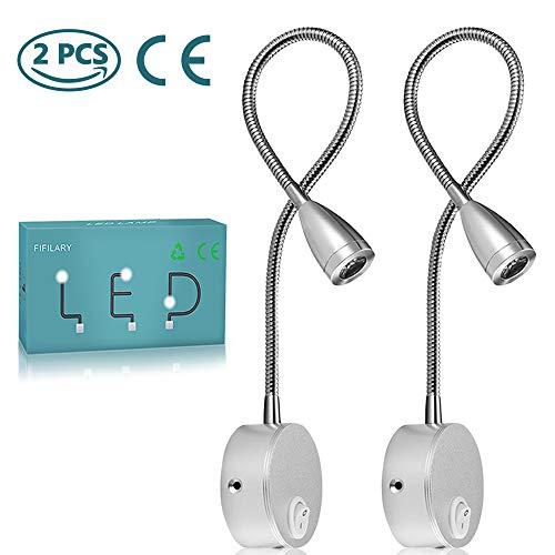 Leeslamp, 2 stuks LED-bedlampjes, wandmontage naast lampen met aluminium nachtverlichting Stekker met schanslamp voor slaapkamer / kantoor / studeerkamer / display, warmwit, 200LM / 3000K / 3W / 110-240V AC, stralingshoek: 30 ° Lengte zwanenhals: 38 cm (zilver) (2PCS)