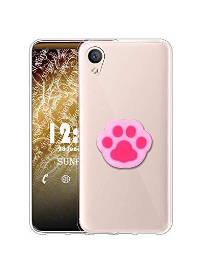 Sunrive Kompatibel mit Alcatel Idol 4/BlackBerry Dtek50 Hülle Silikon, Ständer Fingerhalter Fingerhalterung Handyhülle Transparent Schutzhülle Etui Hülle (Rosa Katze Hand) MEHRWEG