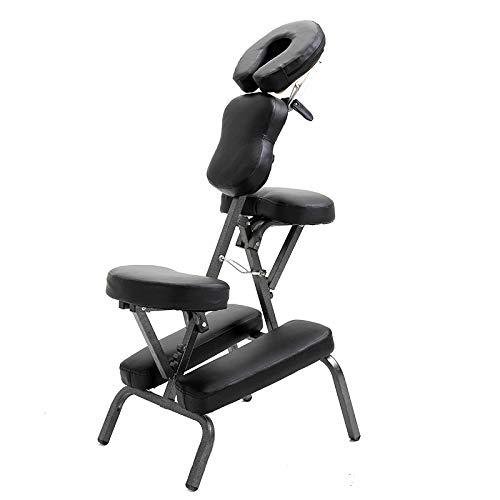 WM&LJP Tragbarer Massagestuhl, Ultrastarker, Leichter, Klappbarer Tattoo Spa Massagestuhl, Verstellbarer Therapie-Body-Salon-Schönheitshocker,Schwarz