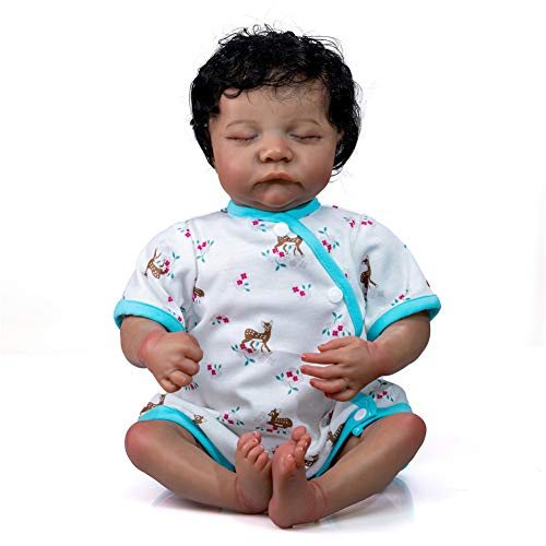Realistic Reborn Baby Dolls Black Girl 22inch Lifelike Handmade African American Weighted Real Silicone Tan Skin Sleeping Baby Dolls Closed Eyes Best Gift Set for Age3+