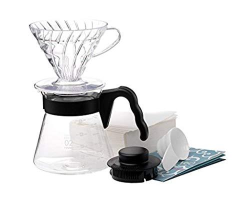 Hario 4977642020955 Einsteigerset Kaffee 4 teilig, Glas, schwarz, 17, 3 x 24, 5 x 13 cm