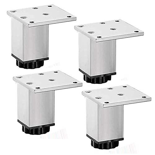 WYBW Pies de soporte para muebles, 4 piezas de patas de muebles ajustables, patas de metal para gabinete, patas de soporte de sofá de aleación de aluminio para mueble de TV, patas de apoyo para muebl