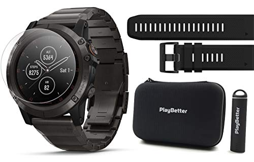 Garmin Fenix 5X Plus+ Sapphire (Titanium) Power Bundle | +Extra Band, Screen Protectors, PlayBetter Portable Charger & Protective Case | Multisport GPS Watch, TOPO Maps, Garmin Pay, Music