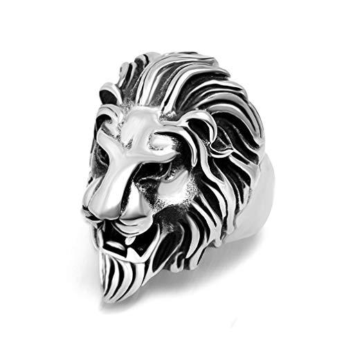 Anillo de Cabeza de león dominante Anillo de Tendencia para Hombre Anillo de Acero de Titanio (Color Acero)