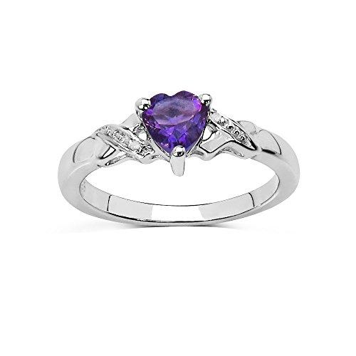 Anillo de Amatista Corazón púrpura y set de diamantes