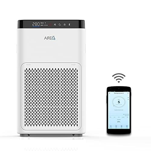 Purificador de Aire A3 HEPA contra Virus, Bacterias, Alérgenos y Malos olores, con Filtro HEPA (99%) + Carbón Activo, para Partículas PM2.5. Hasta 25m² CADR de 200m³/h. Wifi App Smart Life