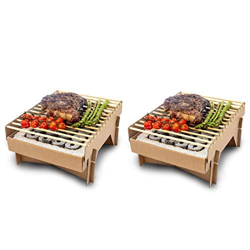 Meateor Öko Einweggrill, komplett aus natürlichen Materialien, nach Gebrauch Fast vollständig verbrennbar, weniger CO2 Emission, in 5 Minuten startklar, über 1 Stunde nutzbar, 2 Stück