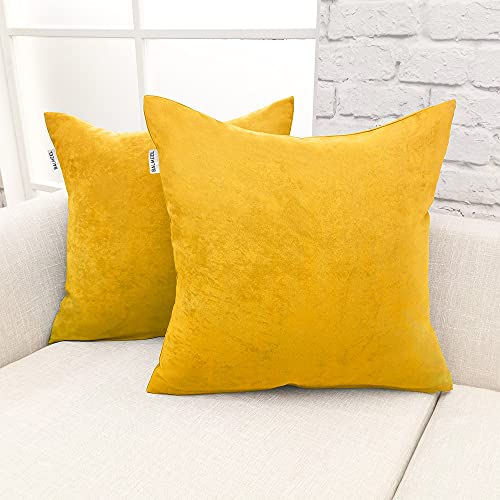 BALMEEL 18 x 18 Inch45 x 45 cm Custom Polyester Square Decorative Pillowcase Luxury Sofa Velvet Cushion Covers Throw Pillow Case for Livingroom Sofa Bedroom car outdoor Cushion Pack of 2 Yellow