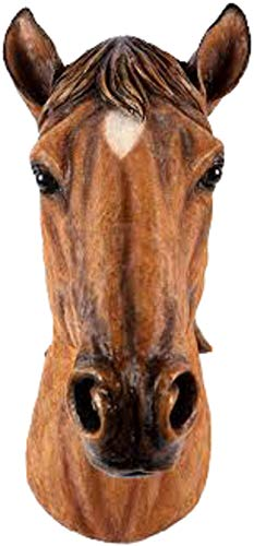 Garden Creations Horses Head Wall Mounted Ornament Chestnut Brown Bust Decoration Hanging Figurine Indoor or Outdoor Lawn Patio Home Decor Hall Décor Man Cave Stables XXL