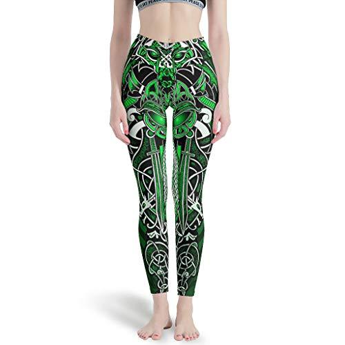 LPLoveYogaShop Leggings para mujer, color verde, vikingo, con espada de lobo, dragón, nudo celta, multicolor, polainas finas para fiestas de camping blanco XS