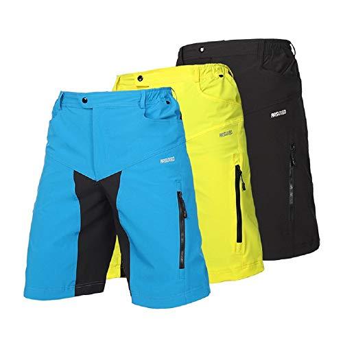 Pantalones Cortos de Ciclismo de 21 Gramos Pantalones Cortos de Secado rápido Pantalones Cortos de Bicicleta de montaña Transpirables Holgados con Cremallera Ciclismo MTB para Exteriores