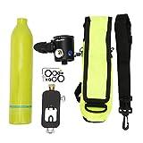 Mini Tanque de Buceo, 0.5L Cilindro de Buceo Portátil Tanque de Oxígeno Respirador Subacuático Cilindro de Buceo Botella de Oxígeno Snorkeling Equipo de Buceo Accesorio con Buceo Adaptador (Verde)