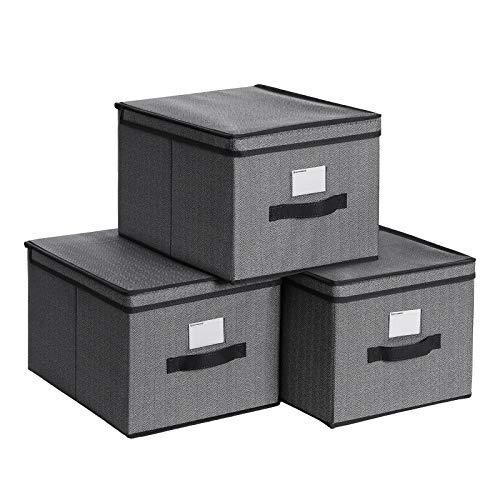 SONGMICS Juego de 3 Cajas de Almacenamiento, Organizadores Plegables con Tapa y Portaetiquetas, 40 x 30 x 25 cm, Tela no Tejida Similar al Lino, Negro RFB003B01