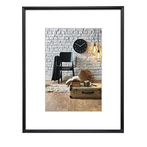 Hama Bilderrahmen Sevilla DIN A3 (29,7x42 cm) (Fotorahmen mit Papier-Passepartout 18x24 cm, Rahmen aus bruchsicherem Kunststoff Glas zum Aufhängen) schwarz