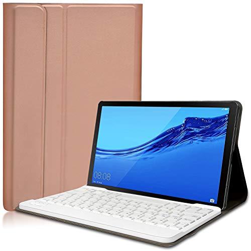KILISON Huawei Mediapad T5 10 Tastiera Custodia Cover, Slim Pelle PU Custodia Case [QWERTY Layout] con Rimovibile Wireless Keyboard Tastiera per Huawei Mediapad T5 10.1 Pollici-Oro rosa