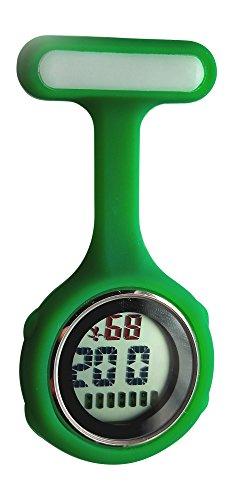 Ellemka - Krankenschwestern Pfleger Chefs | Digitale Anzeige Ansteckuhr Taschenuhr | Digitales Quarzuhrwerk | Hängeband aus Silikon mit Pinnadel | NS-888 - Grün Dark Green OVP