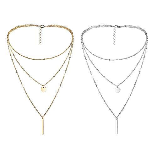 Finrezio 2 Pezzi Collana Multifilo in Lega Catena Multistrato per Donne Fille Stile Boemo Boho Tre Fili Colore Argento e Oro