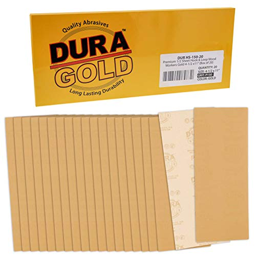 Dura-Gold Premium Sandpaper - 150 Grit - 1/2 Sheet Size Wood Workers Gold, 4-1/2' x 11' with Hook & Loop Backing - Box of 20 Sheets - Hand Sand, Block Sanding, Use on Sander Tools - Woodworking, Auto