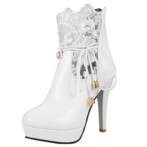 LUXMAX Damen Stiletto Platform Boots High Heels Plateau Stiefeletten mit Spitze Hochzeit Braut Schuhe(Weiß 38)