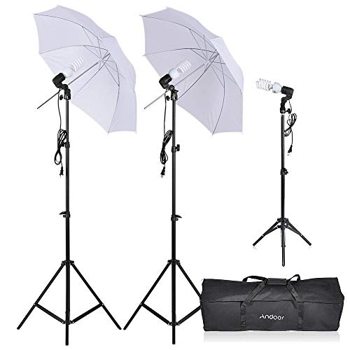 Andoer 600W 5500K Photo Studio Day Light Umbrella Continuous Lighting Kit with 83cm/33in Umbrellas E27 Socket Carrying Bag for Photography Video Portrait