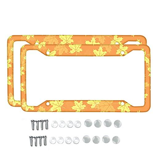 Renewold Marco de matrícula de 2 piezas, hoja de arce amarilla, soporte para placa de matrícula de coche, cubierta para pared, bicicleta, camión, SUV, etiqueta de barra de 6 pulgadas x 12 pulgadas