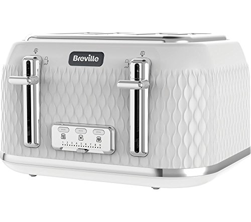 Breville Curve 4-Slice Toaster with High Lift and Wide Slots , White and Chrome [VTT911]
