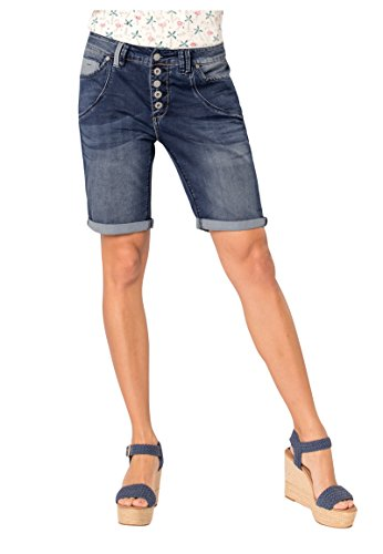 Urban Surface Damen Jeans Bermuda Shorts mit Knopfleiste Blue S