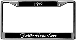 US License Plate Frame Stainless Steel Motivational Bible Verses License Plate Frame Tag Free Screw Caps Included Faith Hope Love Car Licenses Plate Frame