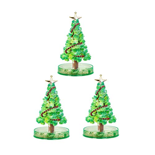 3 PCS Magic Growing Christmas Tree Filler Crystal Christmas Tree, DIY Felt Magic Growing Halloween Decorations Tree Xmas Ornaments Wall Hanging Gifts for Kids Funny Educational