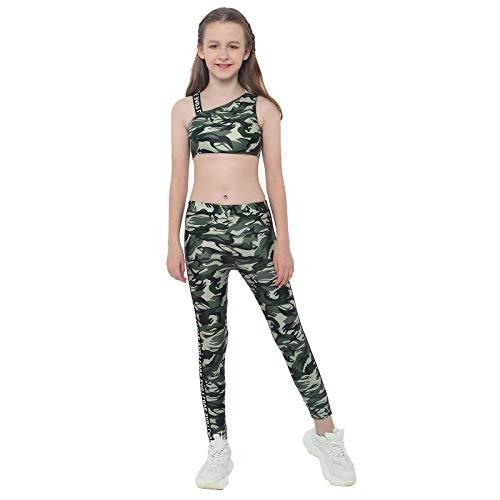 inlzdz Conjuntos de Crop Top y Pantalones Elásticos Ropa Deportiva Niña para Fitness Gym Running Traje Danza Baile Gimnasia Verde 5-6 años
