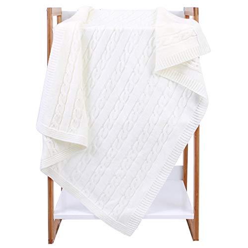 Haokaini Baby Jongens Meisje Pure Deken, Pasgeboren Swaddle Deken Gebreide Gehaakte Gooi Deken, Unisex Swaddle Wrap ontvangen deken Rijst wit