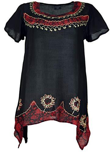 Guru-Shop Longtop XXL, Bestickte BohoTunika Hippie Chic, Damen, Schwarz/rot, Synthetisch, Size:46, Tops & T-Shirts Alternative Bekleidung