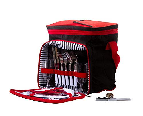 Insulated Picnic Basket - Lunch Tote Cooler Backpack w/Flatware Two Place Setting (Black & Red)
