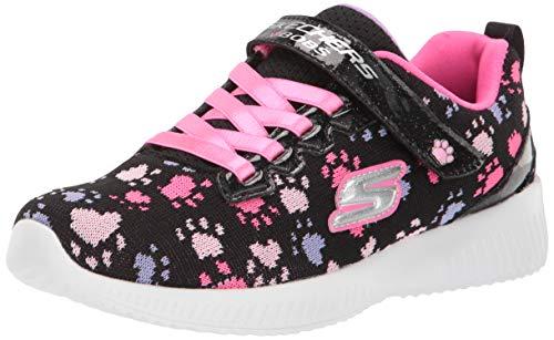 Skechers Kids Girls' BOBS Squad Sneaker, Black/Hot Pink, 1 Medium US Little Kid