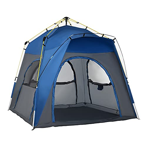 Outsunny Easy Pop Up Tent 5 Person Automatic Hydraulic Family Quick Setup Camping Tents w/Windows, Doors Carry Bag Included