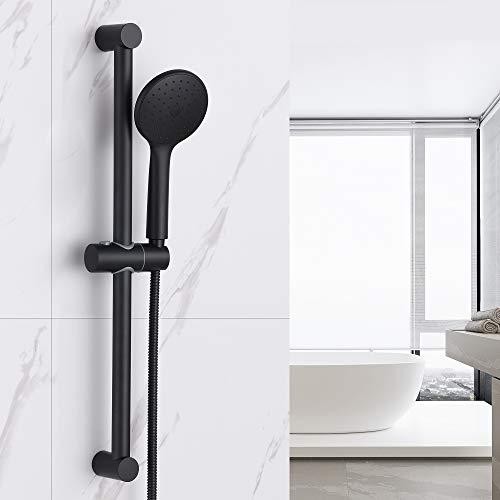 Auralum Duschset Brausestangenset handbrause, duschstange mit brause für Badewanne und Bad, Duschkopf Set Duschbrause mit 1.5 M Schlauch. Schwarz