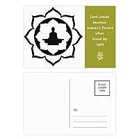 シンプルなイラストの仏教ハスの図形パターン 詩のポストカードセットサンクスカード郵送側20個