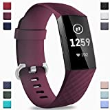 Hamile Bands Compatible with Fitbit Charge 4 / Fitbit Charge 3 / Fitbit Charge 3 SE, Waterproof Replacement Watch Strap Fitness Sport Band Wristband for Women Men, Large, Burgundy