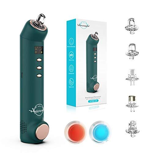 Venussar Limpiador de Poros Succionador de Puntos Negros Limpiador Facial Electrónico de Espinillas USB Recargable Blackhead Remover Con Función de Fría & Caliente