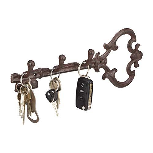 Relaxdays Hakenleiste aus Gusseisen, Schlüsselform, 3 Haken, Antiker Landhausstil, HBT: ca. 12,5 x 33 x 4,5 cm, braun