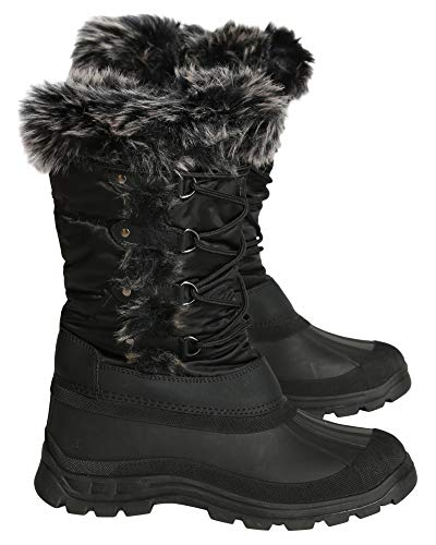 Anna Almeida Womens Casual Round Toe Mid Calf Fur Top Lace Up Snow Boot - Black,Black,6