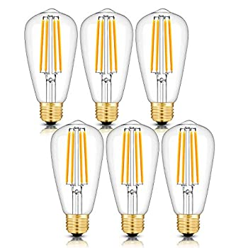 CRLight 8W Dimmable LED Edison Bulb 80W Equivalent 800LM 3200K Soft White E26 Medium Base Vintage Style Clear Glass ST64 Lengthened Filament LED Light Bulbs Smooth Dimming Version 6 Pack