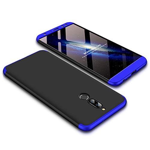 JMGoodstore Funda Compatible Huawei Mate 10 Lite,Carcasa 360360 Grados Integral Ambas Caras+Cristal Templado,3 in 1Slim Dactilares Protectora Skin Caso Cover Azul+Negro