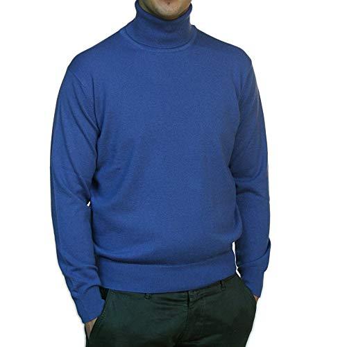 Duemme Maglieria Cashmere Herren Rollkragenpullover, aus 100 % Kaschmir, klassische Passform, Blau 50
