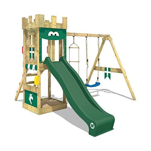 WICKEY Spielturm Ritterburg KnightFlyer mit Schaukel & grüner Rutsche, Spielhaus mit Sandkasten, Kletterleiter & Spiel-Zubehör