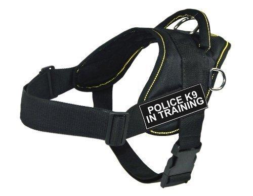 DT Fun Works Hundegeschirr, Polizei K9 im Training, Schwarz mit gelbem Rand, Größe XXS, passend für Gurtumfang von 45,7 cm bis 55,9 cm